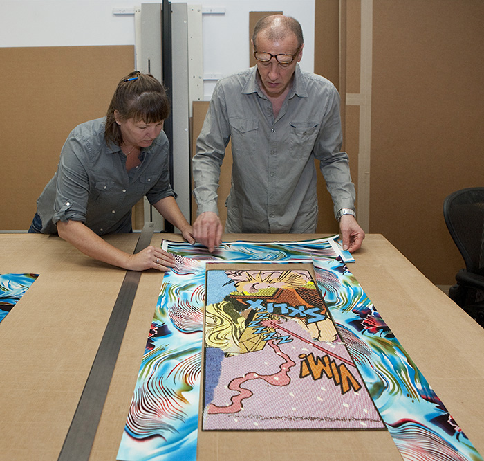 Golden Lion winner Christian Marclay and Sarah Howard work on an upcoming project for Graphicstudio