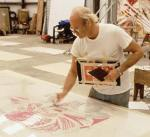 1970s | Artist James Rosenquist working on a large-scale lithograph. Rosenquist has continued to work at the studio since the early 70s.
