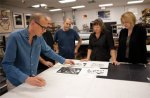 2010s | Christian Marclay signing etchings with the research team: Tim Baker, Tom Pruitt, Sarah Howard and director Margaret Miller. Photo by Will Lytch | USF Graphicstudio