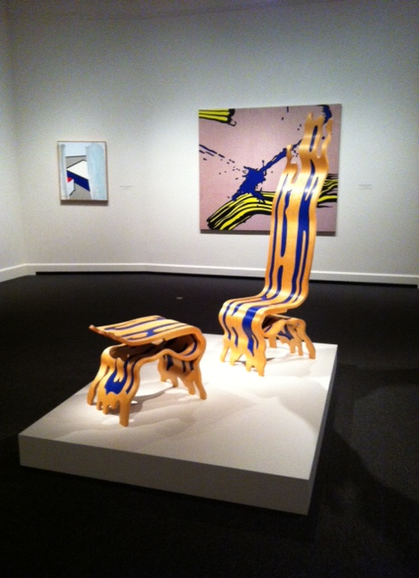 Roy Lichtenstein's Brushstroke Chair and Ottoman, Wood from Graphicstudio