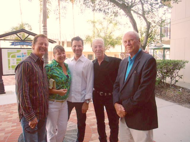 "Stanton Storer, Sarah Howard, Bob Ballard, Theo Wujcik, and James Rosenquist at Theo's ""No U Turn"" opening in Ybor City."