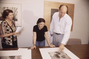 Graciela Iturbide at Graphicstudio in 1996 with curator Noel Smith and former Director Dr. Hank Hine.