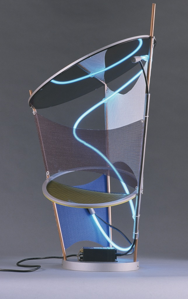 "Keith Sonnier Chandelier, 2000 Aluminum, acrylic, argon tube, fiberglass mesh, brass rods 33"" tall x 24"" diameter Edition 12"