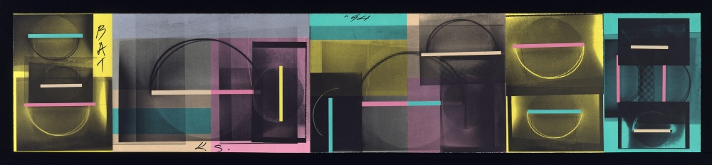 "Keith Sonnier Computographics: Lit Circle, 1994 7-color planographic/photoetching with appliqués 12 7/8"" x 62 5/8"" (unfolded) Edition 5; XX"