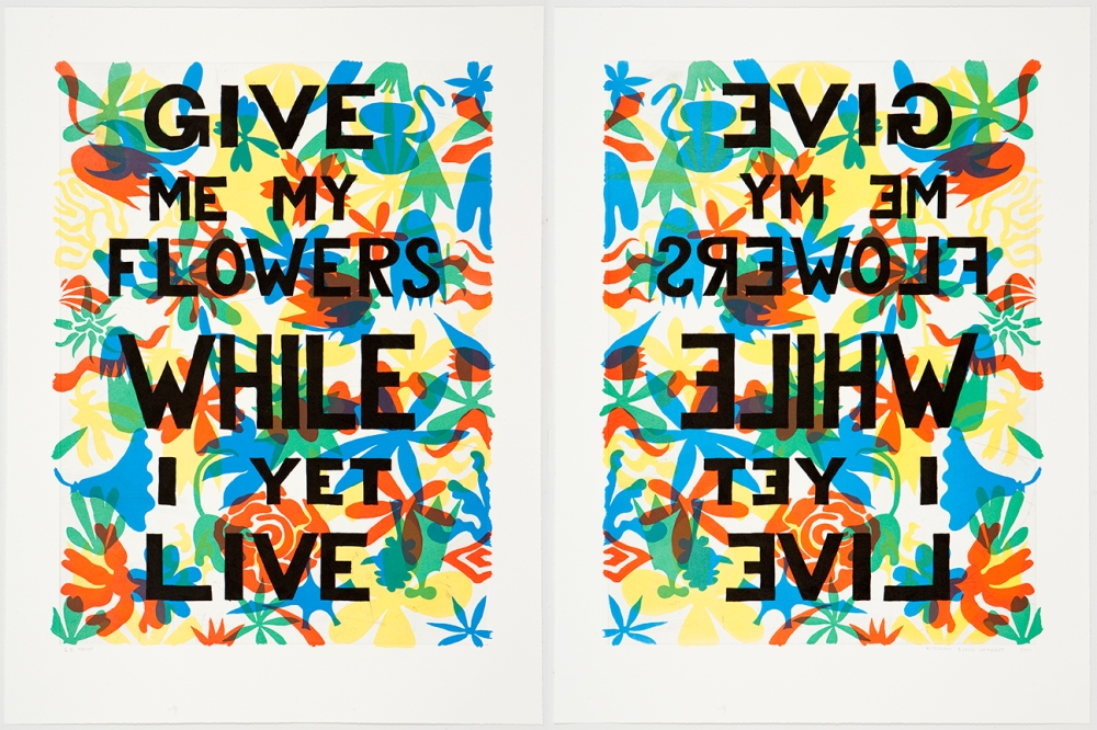 "Give Me My Flowers While I Yet Live, 20105-color lothograph with 1-color etching32"" x 24"" eachEdition: 12"