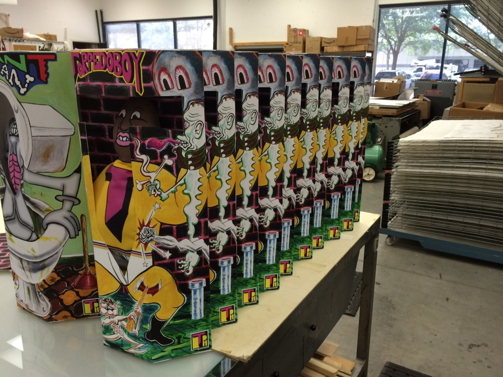 Stuffed and boxed TorpedoBoys in production at Graphicstudio
