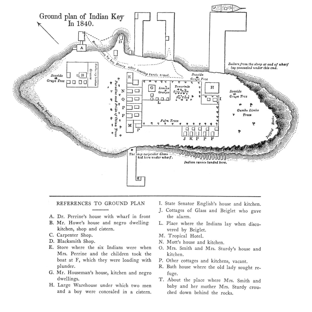A map of the ground plan of Indian Key in 1840. Published in Tequesta: The Journal of the Historical Association of Southern Florida, August 1942.